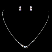 Silver AB Necklace & Earrings Jewelry Set 305