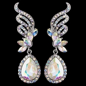 Silver AB Rhinestone Drop Earrings 9891
