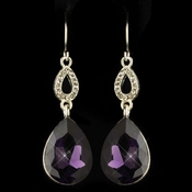 Silver Amethyst & Clear CZ Crystal Drop Earrings 25285