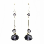 Silver Amethyst Crystal Drop Bridal Earrings 8741