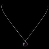 Silver Amethyst Round Swarovski Crystal Element On Chain Necklace 9600