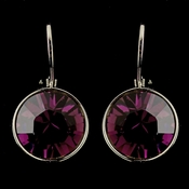 Silver Amethyst Swarovski Crystal Element Round Leverback Earrings 9600