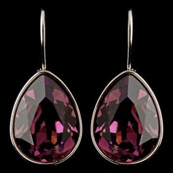Silver Amethyst Swarovski Crystal Element Teardrop Leverback Earrings 9602