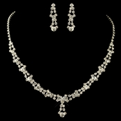 Silver and Clear Crystal Necklace Earring Set NE 228
