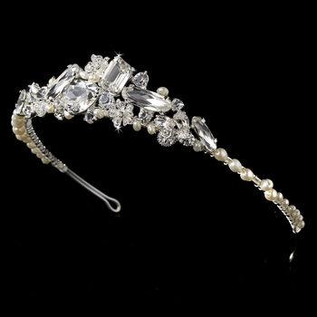 Silver and Freshwater Pearl Bridal Tiara HP 8238