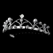 Silver and Pearl Flower Girl's Tiara Comb HP C 511
