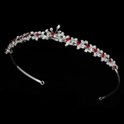 * Silver and Red Bridal Tiara HP 6269