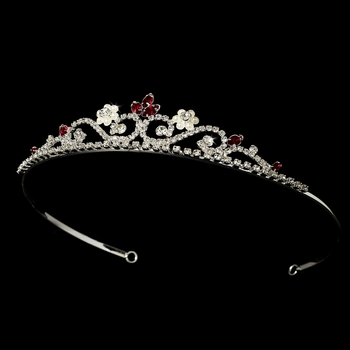 Silver and Red Tiara HP 6240