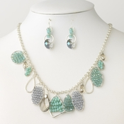 Silver Aqua  Blue Faceted Glass Beaded Bridal Wedding Fashion Jewelry Set 9522 9515