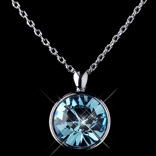 Silver Aqua Round Swarovski Element Crystal Jewelry Set 9600