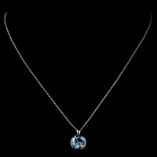 Silver Aqua Round Swarovski Crystal Element On Chain Necklace 9600