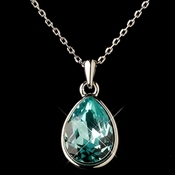 Silver Aqua Swarovski Crystal Element Teardrop Pendant Necklace 9602