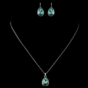 Silver Aqua Teardrop Swarovski Element Crystal Jewelry Set 9602