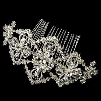 ✧SPECIAL ORDER ONLY✧  Silver Art Deco Floral Rhinestone Comb
