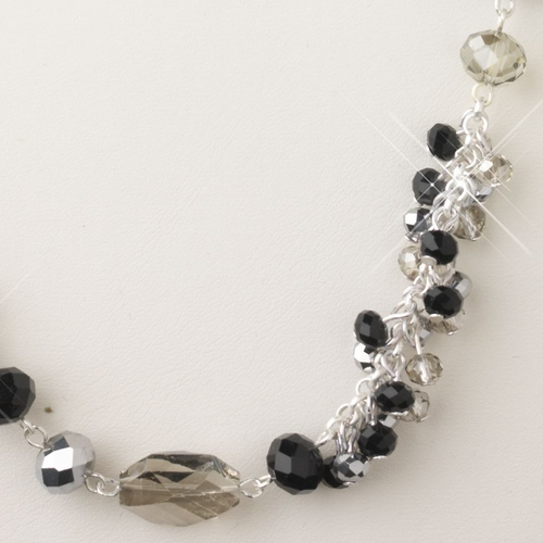 Silver Black And Hematite Faceted Glass Crystal Fashion Necklace 9526