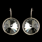 Silver Black Diamond Smoke Swarovski Crystal Element Large Round Leverback Earrings 9603