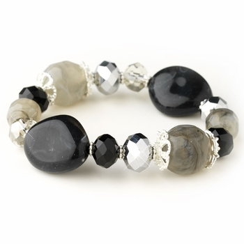 Silver Black Faceted Glass Stretch Bracelet 9508