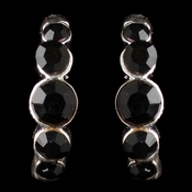 * Silver Black Rhinestone Earrings 20339