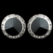 Silver Black Rhinestone Rondelle Round Stud Earrings 23017