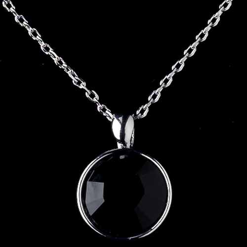 Silver Black Round Swarovski Element Crystal Jewelry Set 9600