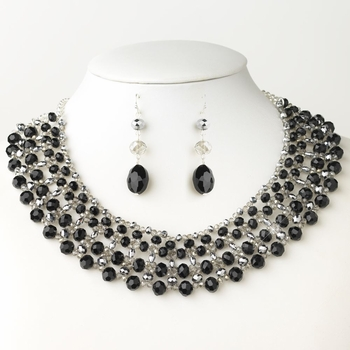 Silver Black & Silver Faceted Glass Crystal Earrings Only E-9527