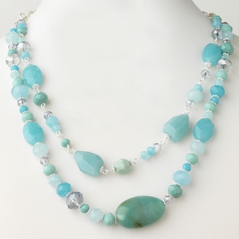 Silver Blue Faceted Glass Crystal Fashion Necklace 9525