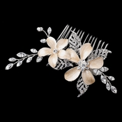 Silver Champagne Enameled Flower Hair Comb w/ Rhinestones Comb 40
