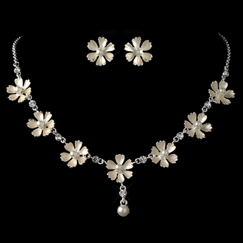 Silver Champagne Pearl Flower Jewelry Set 4838