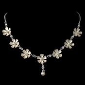 Silver Champagne Pearl Flower Necklace 4838
