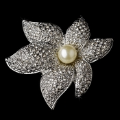 Silver Classy Starfish Orchid Brooch with Ivory Pearl Accent 67
