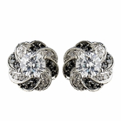 Silver Clear & Black CZ Stone Bridal Earrings 8785