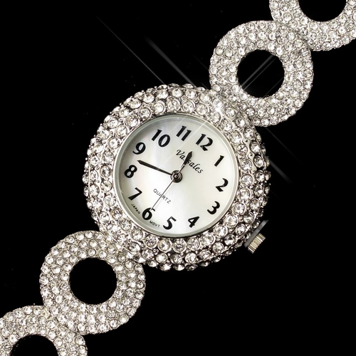 Silver Clear Circle Pave Rhinestone Watch 26