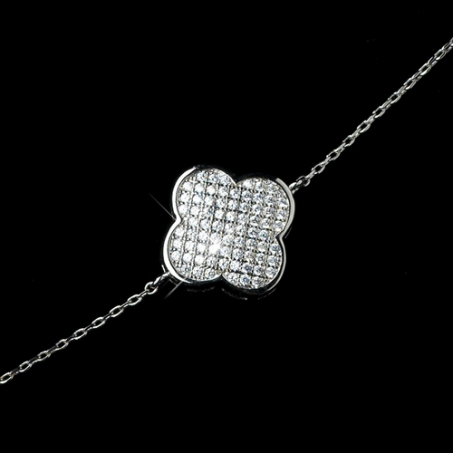 Silver Clear Clover Micro Pave Bracelet 8640