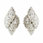 Silver Clear Clustered Marquise Rhinestone Clipped Earrings 7122