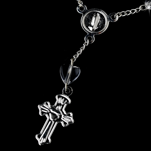 Silver Clear Crucifix Finger Rosaries (10 Per Pack) BQ 009
