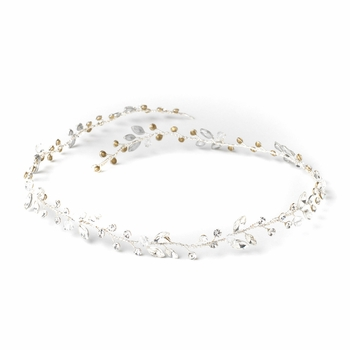 Silver Clear Crystal & Rhinestone Bridal Wedding Vine Headband 10008
