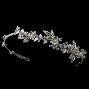 Silver Clear Crystal & Rhinestone Floral Side Headband Headpiece 1536
