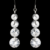 Silver Clear Cubic Zirconia 4 Drop Dangle Earrings 9528
