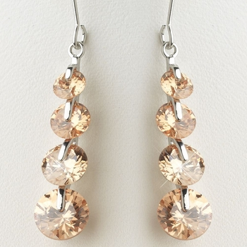 Silver Light Topaz Champagne Cubic Zirconia 4 Drop Dangle Earrings 9528