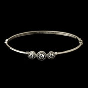 Silver Clear CZ Crystal Bangle Bracelet 8566