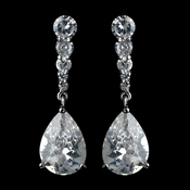 Silver Clear CZ Crystal Teardrop Earrings 40082