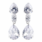 Silver Clear CZ Crystal Teardrop Earrings 8972