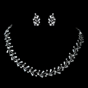 Silver Clear CZ Crystal Vine Necklace & Earrings Jewelry Set 1286