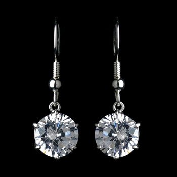 Silver Clear CZ Solitaire Crystal Drop Earring On Hook Earrings 25748