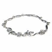 Silver Clear Floral Bridal Jewelry Bracelet 381