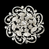 Silver Clear Floral Rhinestone Brooch 3***Discontinued***