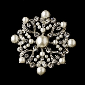 * Silver Clear & Ivory Pearl Brooch 137***Discontinued***