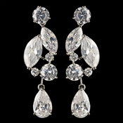 Silver Clear Multi Cut CZ Crystal Drop Earrings 4102