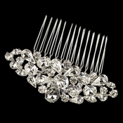 Silver Clear Multi Cut Rhinestone Hair Comb 1345