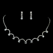 Silver Clear Necklace & Earrings Jewelry Set 71534